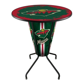 Lighted L218 - 42 Black Minnesota Wild Pub Table by Holland Bar Stool Co.