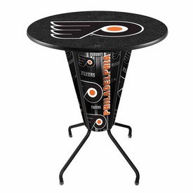 Lighted L218 - 42 Black Philadelphia Flyers Pub Table by Holland Bar Stool Co.