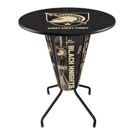 Lighted L218 - 42 Black US Military Academy (ARMY) Pub Table by Holland Bar Stool Co.