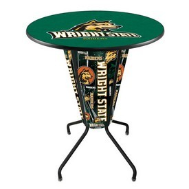 Lighted L218 - 42 Black Wright State Pub Table by Holland Bar Stool Co.