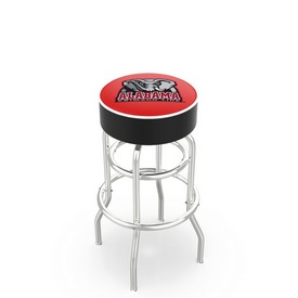 L7C1 - 4 Alabama Cushion Seat with Double-Ring Chrome Base Swivel Bar Stool by Holland Bar Stool Company