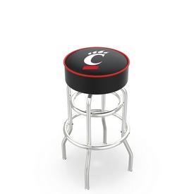 L7C1 - 4 Cincinnati Cushion Seat with Double-Ring Chrome Base Swivel Bar Stool by Holland Bar Stool Company