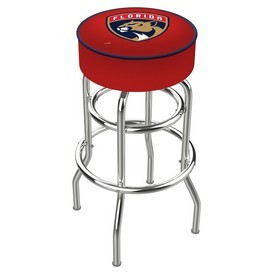 L7C1 - 4 Florida Panthers Cushion Seat with Double-Ring Chrome Base Swivel Bar Stool by Holland Bar Stool Company