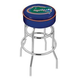 L7C1 - 4 Florida Cushion Seat with Double-Ring Chrome Base Swivel Bar Stool by Holland Bar Stool Company