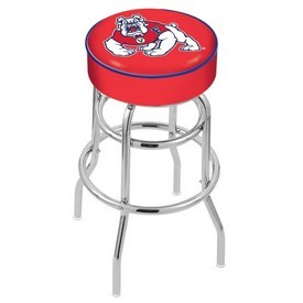 L7C1 - 4 Fresno State Cushion Seat with Double-Ring Chrome Base Swivel Bar Stool by Holland Bar Stool Company