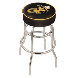 L7C1 - 4 Georgia Tech Cushion Seat with Double-Ring Chrome Base Swivel Bar Stool by Holland Bar Stool Company