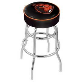 L7C1 - 4 Oregon State Cushion Seat with Double-Ring Chrome Base Swivel Bar Stool by Holland Bar Stool Company