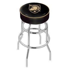 L7C1 - 4 US Military Academy (ARMY) Cushion Seat with Double-Ring Chrome Base Swivel Bar Stool by Holland Bar Stool Company