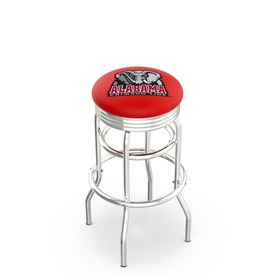 L7C3C - Chrome Double Ring Alabama Swivel Bar Stool with 2.5 Ribbed Accent Ring by Holland Bar Stool Company