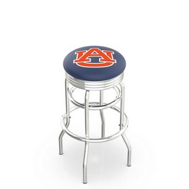L7C3C - Chrome Double Ring Auburn Swivel Bar Stool with 2.5 Ribbed Accent Ring by Holland Bar Stool Company