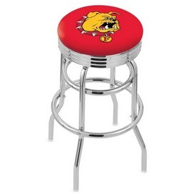 L7C3C - Chrome Double Ring Ferris State Swivel Bar Stool with 2.5 Ribbed Accent Ring by Holland Bar Stool Company