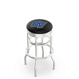 L7C3C - Chrome Double Ring Grand Valley State Swivel Bar Stool with 2.5 Ribbed Accent Ring by Holland Bar Stool Company
