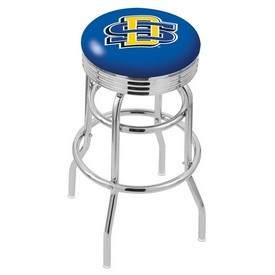 L7C3C - Chrome Double Ring South Dakota State Swivel Bar Stool with 2.5 Ribbed Accent Ring by Holland Bar Stool Company