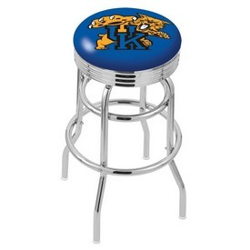L7C3C - Chrome Double Ring Kentucky Wildcat Swivel Bar Stool with 2.5 Ribbed Accent Ring by Holland Bar Stool Company