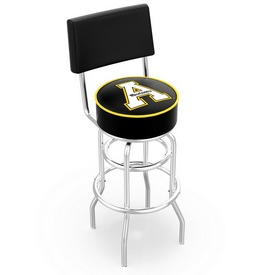 L7C4 - Chrome Double Ring Appalachian State Swivel Bar Stool with a Back by Holland Bar Stool Company