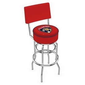 L7C4 - Chrome Double Ring Florida Panthers Swivel Bar Stool with a Back by Holland Bar Stool Company