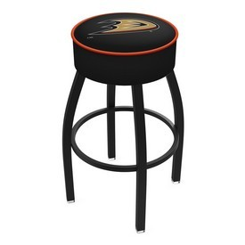 L8B1 - 4 Anaheim Ducks Cushion Seat with Black Wrinkle Base Swivel Bar Stool by Holland Bar Stool Company