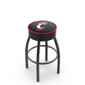 L8B1 - 4 Cincinnati Cushion Seat with Black Wrinkle Base Swivel Bar Stool by Holland Bar Stool Company