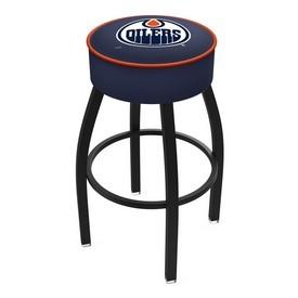 L8B1 - 4 Edmonton Oilers Cushion Seat with Black Wrinkle Base Swivel Bar Stool by Holland Bar Stool Company