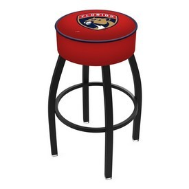 L8B1 - 4 Florida Panthers Cushion Seat with Black Wrinkle Base Swivel Bar Stool by Holland Bar Stool Company