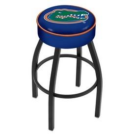 L8B1 - 4 Florida Cushion Seat with Black Wrinkle Base Swivel Bar Stool by Holland Bar Stool Company