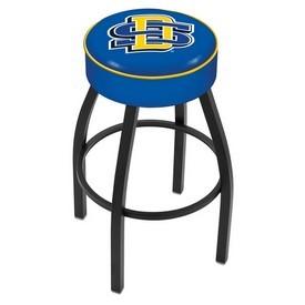 L8B1 - 4 South Dakota State Cushion Seat with Black Wrinkle Base Swivel Bar Stool by Holland Bar Stool Company