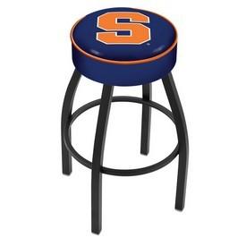 L8B1 - 4 Syracuse Cushion Seat with Black Wrinkle Base Swivel Bar Stool by Holland Bar Stool Company