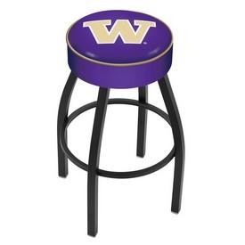 L8B1 - 4 Washington Cushion Seat with Black Wrinkle Base Swivel Bar Stool by Holland Bar Stool Company