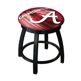 "18"" L8B2B-18 - Black Wrinkle Alabama Swivel Stool with Accent Ring by Holland Bar Stool Company(""A"" Logo)"