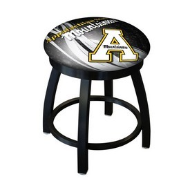 """18"""" L8B2B-18 - Black Wrinkle Appalachian State Swivel Stool with Accent Ring by Holland Bar Stool Company"""