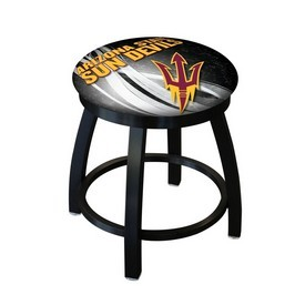 "18"" L8B2B-18 - Black Wrinkle Arizona State Swivel Stool with Accent Ring and Pitchfork Logo by Holland Bar Stool Company"
