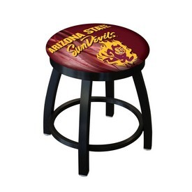 "18"" L8B2B-18 - Black Wrinkle Arizona State Swivel Stool with Accent Ring and Sparky Logo by Holland Bar Stool Company"