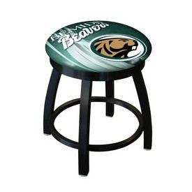 "18"" L8B2B-18 - Black Wrinkle Bemidji State Swivel Stool with Accent Ring by Holland Bar Stool Company"