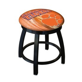 "18"" L8B2B-18 - Black Wrinkle Clemson Swivel Stool with Accent Ring by Holland Bar Stool Company"