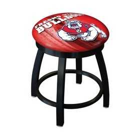 "18"" L8B2B-18 - Black Wrinkle Fresno State Swivel Stool with Accent Ring by Holland Bar Stool Company"
