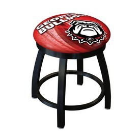 "18"" L8B2B-18 - Black Wrinkle Georgia ""Bulldog"" Swivel Stool with Accent Ring by Holland Bar Stool Company"