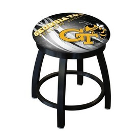 "18"" L8B2B-18 - Black Wrinkle Georgia Tech Swivel Stool with Accent Ring by Holland Bar Stool Company"