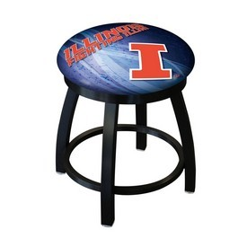 """18"""" L8B2B-18 - Black Wrinkle Illinois Swivel Stool with Accent Ring by Holland Bar Stool Company"""