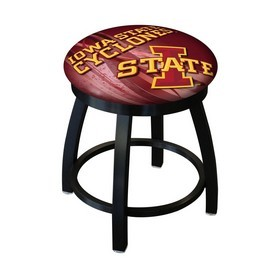 "18"" L8B2B-18 - Black Wrinkle Iowa State Swivel Stool with Accent Ring by Holland Bar Stool Company"