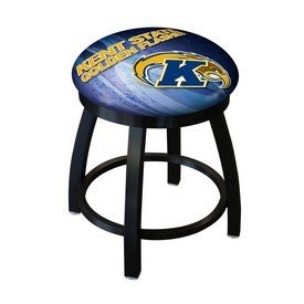 "18"" L8B2B-18 - Black Wrinkle Kent State Swivel Stool with Accent Ring by Holland Bar Stool Company"