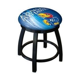 "18"" L8B2B-18 - Black Wrinkle Kansas Swivel Stool with Accent Ring by Holland Bar Stool Company"