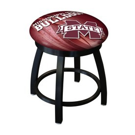 """18"""" L8B2B-18 - Black Wrinkle Mississippi State Swivel Stool with Accent Ring by Holland Bar Stool Company"""