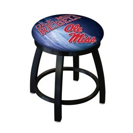"18"" L8B2B-18 - Black Wrinkle Ole' Miss Swivel Stool with Accent Ring by Holland Bar Stool Company"