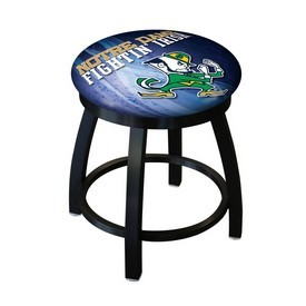 "18"" L8B2B-18 - Black Wrinkle Notre Dame (Leprechaun) Swivel Stool with Accent Ring by Holland Bar Stool Company"