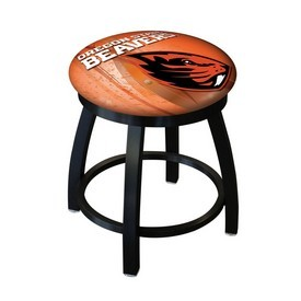 """18"""" L8B2B-18 - Black Wrinkle Oregon State Swivel Stool with Accent Ring by Holland Bar Stool Company"""