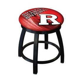 "18"" L8B2B-18 - Black Wrinkle Rutgers Swivel Stool with Accent Ring by Holland Bar Stool Company"