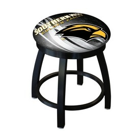 """18"""" L8B2B-18 - Black Wrinkle Southern Miss Swivel Stool with Accent Ring by Holland Bar Stool Company"""