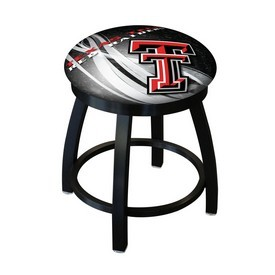 "18"" L8B2B-18 - Black Wrinkle Texas Tech Swivel Stool with Accent Ring by Holland Bar Stool Company"