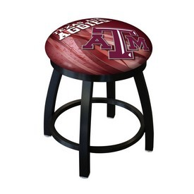 "18"" L8B2B-18 - Black Wrinkle Texas A&M Swivel Stool with Accent Ring by Holland Bar Stool Company"