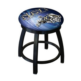 "18"" L8B2B-18 - Black Wrinkle US Naval Academy (NAVY) Swivel Stool with Accent Ring by Holland Bar Stool Company"